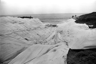 Christo and Jeanne-Claude's Wrapped Coast in 1969.