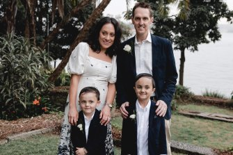 Tony Connelly, wife Monique and their sons Will and Cooper on the couple's wedding day in September.