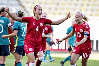 Rikke Sevecke celebrates Denmark's second goal in the 3-2 win.
