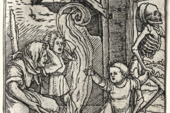 Hans Holbein's series of woodcuts were instant best-sellers due to their exceptional quality and the artist's  inventive, satirical approach: The Child, circa 1526.