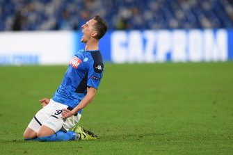 Arkadiusz Milik scored three goals for Napoli in the Champions League.
