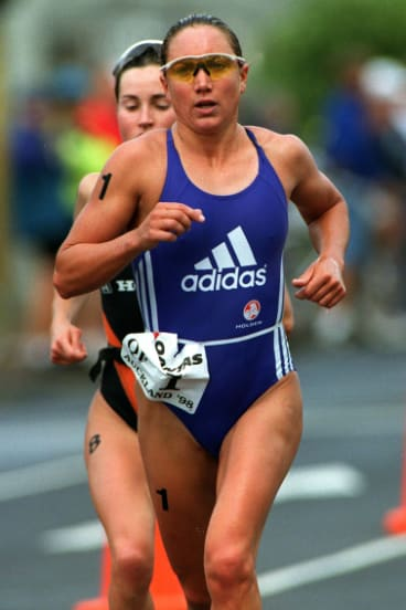 Champion triathlete Emma Carney competing in 1998, before heart trouble brought her career to a premature end.