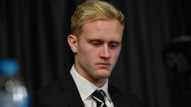 Jaidyn Stephenson fronts the media on Wednesday.