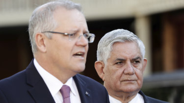 Prime Minister Scott Morrison and Minister for Senior Australians Ken Wyatt at a door stop on the royal commission