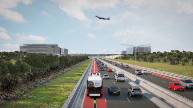 Anothger artist's impressions of the driverless vehicle between Liverpool and Western Sydney Airport.