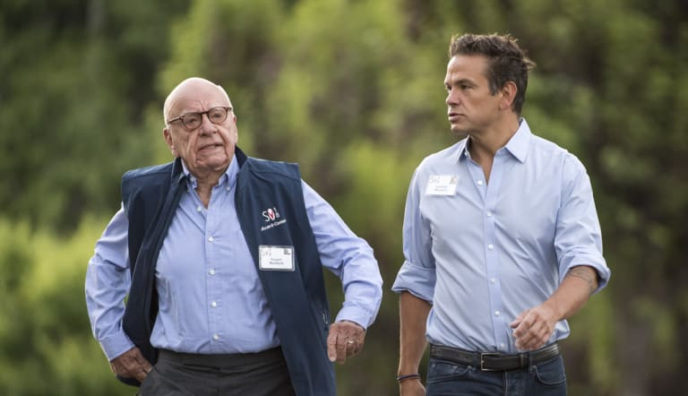 Rupert Murdoch, with son Lachlan, in July.