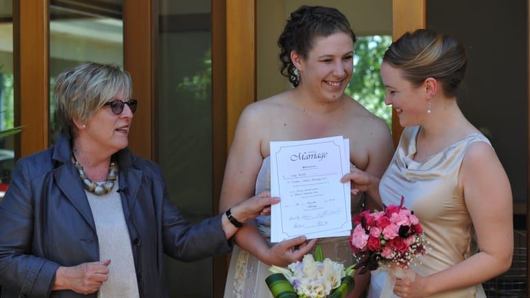 Judy Aulich marries Canberra women Ellie Filler and Emily Jehne in 2013.