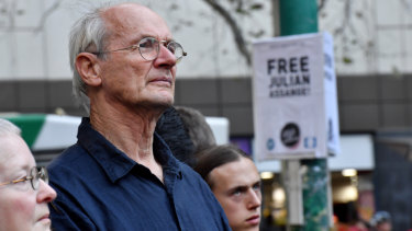 John Shipton at the Free Julian Assange Rally in support of his son at the State Library of Victoria on Friday afternoon.