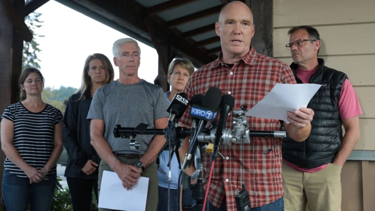 Mike Mathews and friends of Richard Russell talk to the media after the crash.