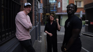Max Porter (left), Meg Wolitzer (centre) and Nana Kwame Adjei-Brenyah in Chippendale on Tuesday.