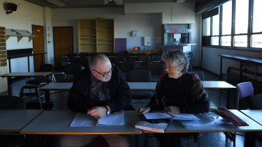 Alexander Burgic and Marguerite Young in a classroom at Randwick TAFE, where they are studying HSC subjects.