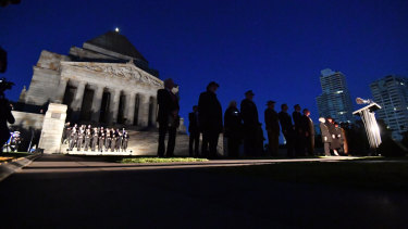The dawn service at the Shrine of Remembrance.
