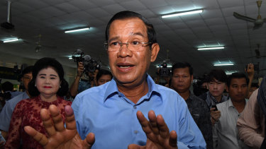 Hun Sen, President of the Cambodian People's Party, moments after he  voted in the Cambodian general election at Kandal Provincial Teacher Training School in Hun Sen's hometown of Takhmao on Sunday.