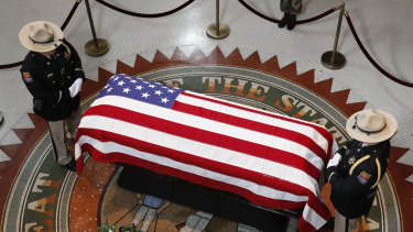 The casket of Senator John McCain during a viewing at the Arizona Capitol.