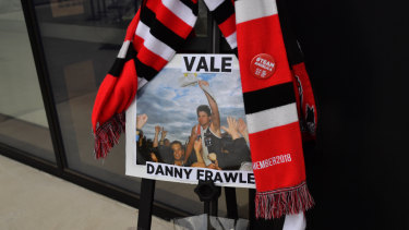 Tributes were paid to Danny Frawley at Kilda's spiritual home of Moorabbin Oval.