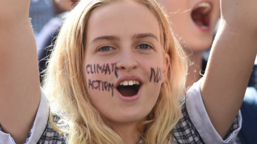 A student at the climate action protest on Friday.