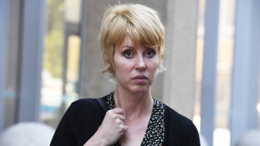 Vocalist of Music duo Glass Candy, Lori Monahan leaves the Federal Court in Sydney