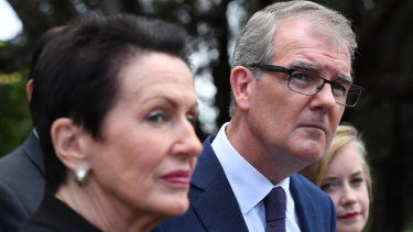 NSW Opposition Leader Michael Daley and City of Sydney lord mayor Clover Moore in Alexandria on Wednesday.