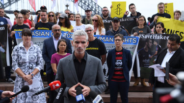 Former footballer and SBS presenter Craig Foster at a rally in Sydney on Friday.
