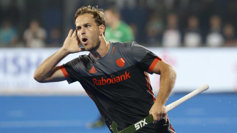 Finalists: The Netherlands' Jeroen Hertzberger celebrates after scoring off a shoot-out.