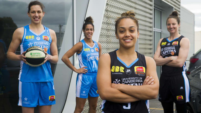 Canberra Capitals' Marianna Tolo, Kia Nurse, Leilani Mitchell and Kelsey Griffin.