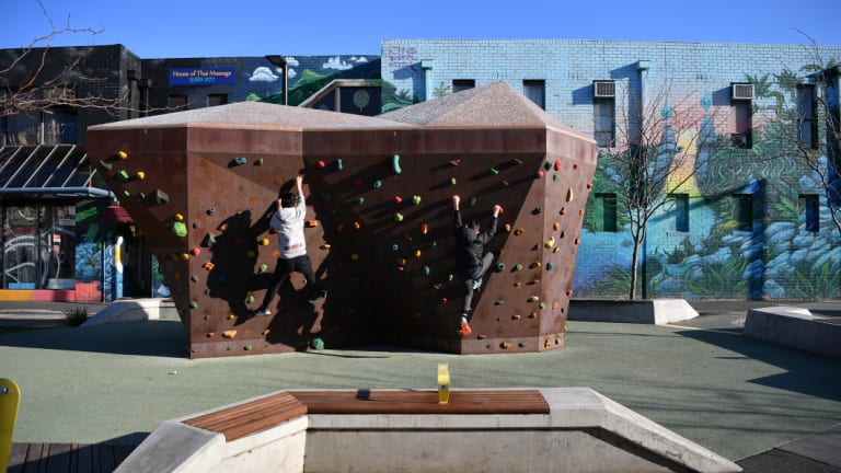 Wilson Avenue in Brunswick has been redesigned with a rock climbing wall in a push to curb street crime.