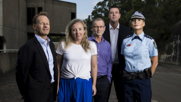 David Thomas CEO of Lifeline Northern Beaches, Justene Gordon CEO of The Burdekin Association and Avalon Youth Hub, Gary Jacobson CEO of Community Care Northern Beaches, Michael Regan mayor of Northern Beaches Council and Inspector Danielle Emerton of Northern Beaches Police Area Command at the Northern Beaches Civic Centre in Dee Why.