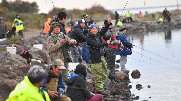 Dozens of people were fishing at the Warmies at Newport on Friday afternoon despite the warnings.