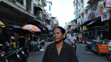 Bou Sokhom, 65, in the streets of Phnom Penh.