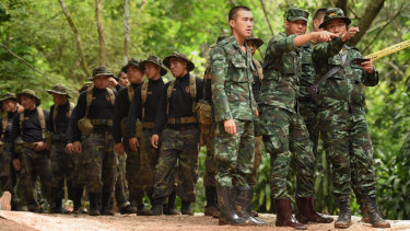 Thai army soldiers at the base camp.