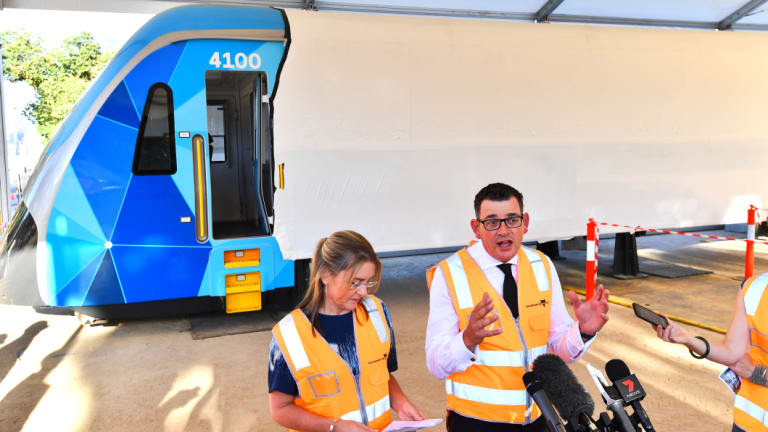 Premier Daniel Andrews unveils a high capacity train back in February.