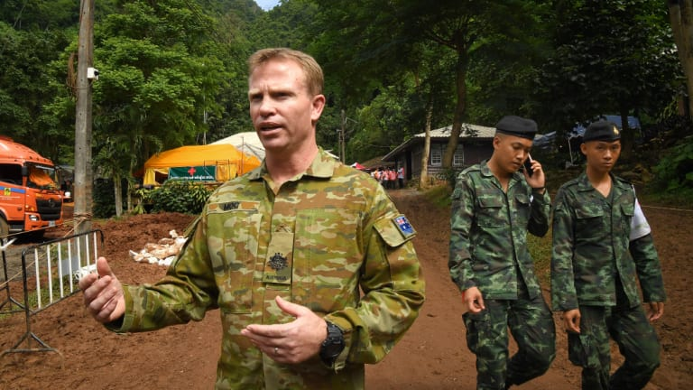 Australian military warrant officer Chris Moc at the base camp where the rescue operations are being planned.