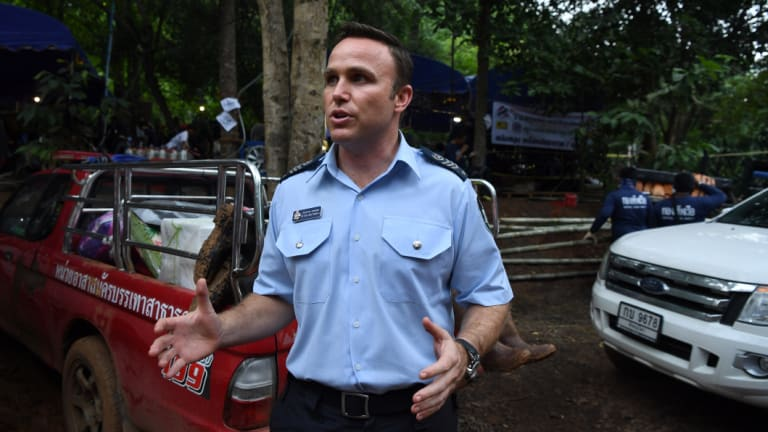 Australian Federal Police Detective Sergeant Peter Southwell at the base camp where the rescue operations are being planned.