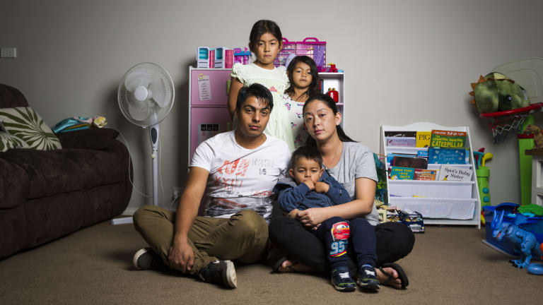 Josue and Kristen Castro with their children Megan, 6, Chloe, 4, and Rafael, 3, have found managing rising costs of living almost impossible.