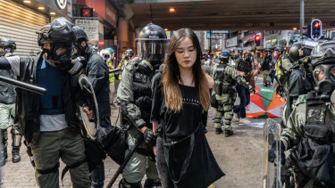 Protesters are arrested during clashes.