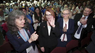 Ms Gillard spoke only briefly, thanking the survivors for telling their stories, and for their stoicism.