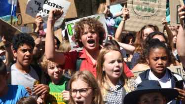 Students from across Victoria raised their voices to protest political inaction on climate change.