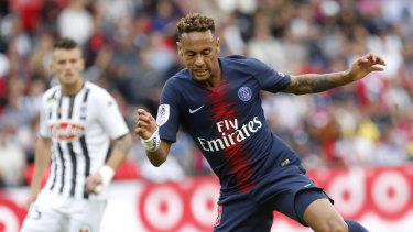 Still leading: Neymar was among the goals in PSG's victory over Angers.