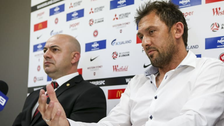 Career move: Popovic announces his departure from the Wanderers with CEO John Tsatsimas in October 2017.