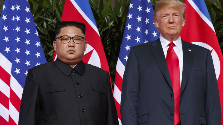 North Korean leader Kim Jong-un with US President Donald Trump at a summit in Singapore.