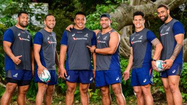Samoan flavour: Wallabies forwards Scott Sio, Christian Lealiifano, Allan Alaalatoa, Jordan Uelese, Matt Toomua and Lukhan Salakaia-Loto are all proud of their Samoan heritage.