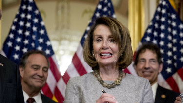 House Speaker Nancy Pelosi after signing the deal to reopen the government on Capitol Hill in Washington on Friday.