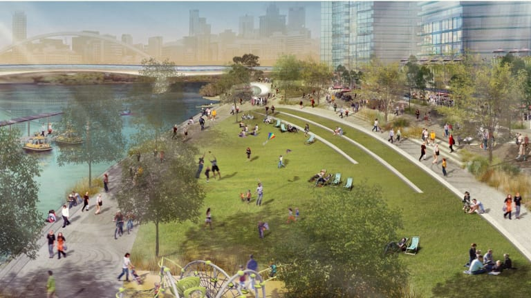 An artist's impression of the revamped riverfront.