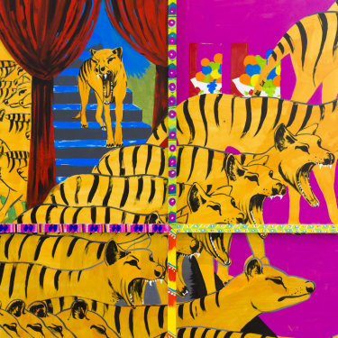 Tasmanian tigers feature heavily in Iman Raad's mural for QAGOMA.