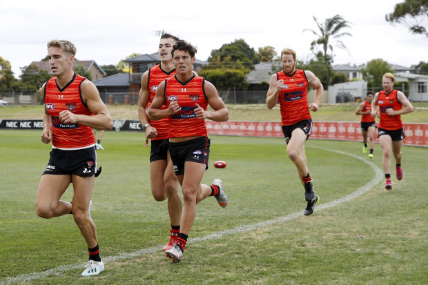 The Bombers were back at training on Monday.