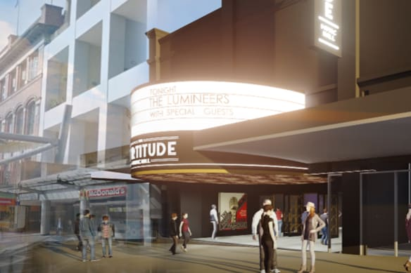 Artists' impression of the Fortitude Music Hall in the Brunswick Street Mall.