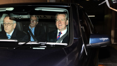Barry O'Farrell, right, leaves the ICAC on the day he announced his resignation as Premier, April 16, 2014.