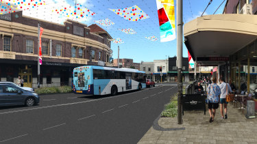 An artist's impression of planned improvements to Norton Street in Leichhardt.