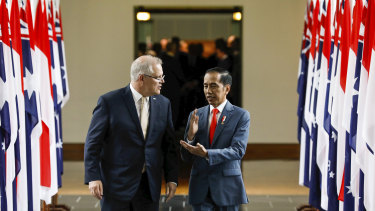 Indonesia's Joko Widodo addressed the House of Representatives at Parliament House in Canberra in February.
