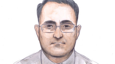 A sketch of Bradley Edwards on day two of the Claremont serial killer case.